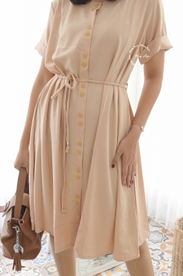 Jodie Dress Full 2 Kancing Pita Perut - DRO 1012 Cream